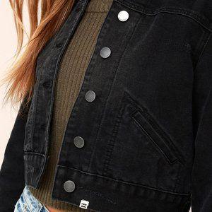 Billabong Washed Black Cropped Denim Jacket